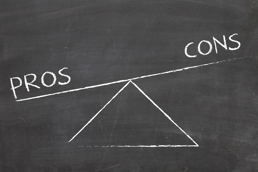 CCRC decision process balance between pros and cons concept photo