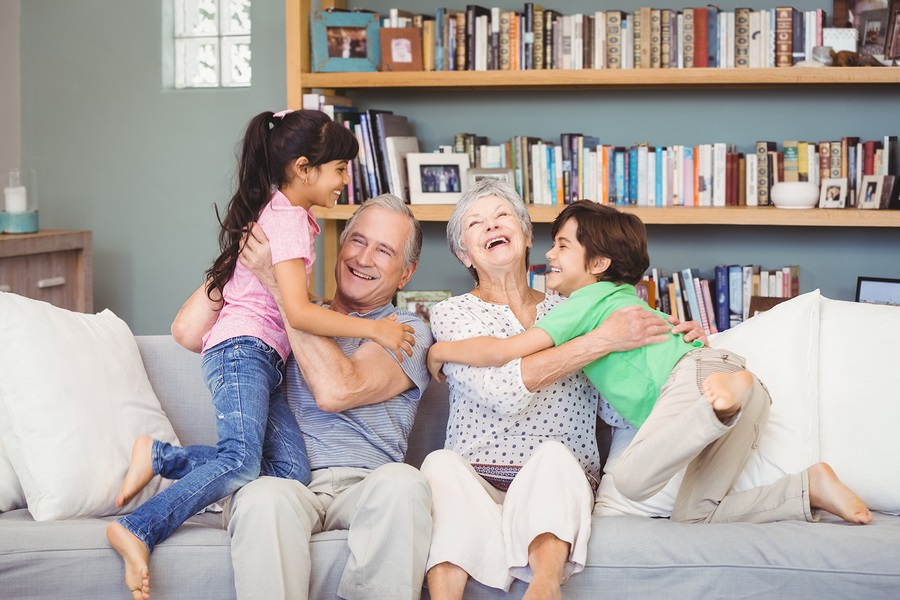 grandparents playing with grandchildren