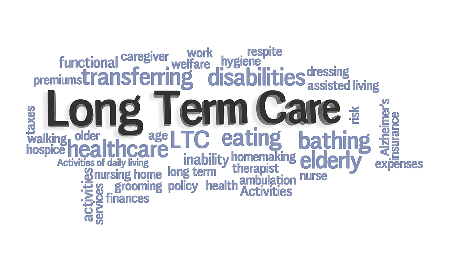 Long Term Care insurance Word Cloud on White Background
